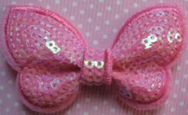 Vlinder pailletten roze