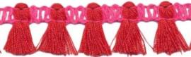 Sierband kwastjes knal roze/rood