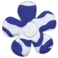 Applicatie bloem met zebra print wit/blauw  4,5 cm