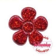 (1) Glitter bloem rood 3,5cm