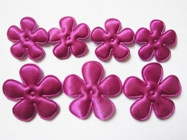 Satijnen bloem  fuchsia/paars 2,5cm