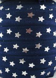 Elastisch haarband donkerblauw met zilver ster