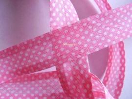 BD8a Biasband roze stip katoen