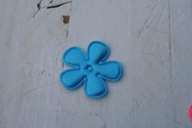 Satijnen applicatie bloem blauw 3.5 cm