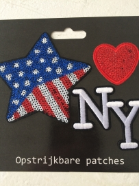 Patches Ster/Hart/NY opstrijkbaar