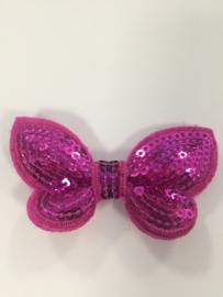 Vlinder pailletten hot pink