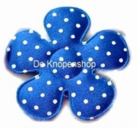 A0350 Polkadot bloemen royal blue/cobalt blauw 3,5 cm