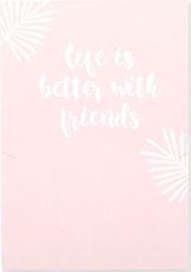 """Sieraden wenskaart """"LIFE IS BETTER WITH FRIENDS"""" Roze-wit"""