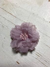 Vintage bloem oudroze/poederroze 5cm