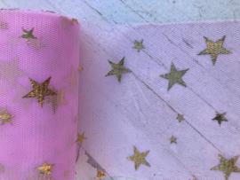 Tule licht roze  ster goud