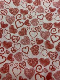 Leer hartjes rood glitter