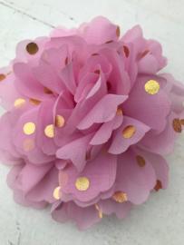 Bloemen chiffon 10 cm roze polkadot goud