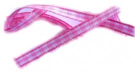 Baby roze/wit ruitje satijn 5mm