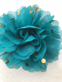 Bloemen chiffon 10 cm teal polkadot goud