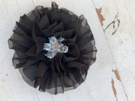 Luxe bloem met bloem strass  zwart