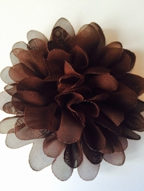 Bloem chiffon 11 cm bruin