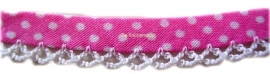 Biasband kantje stippel  roze katoen