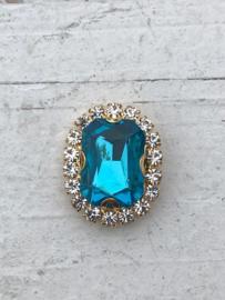 Flatback rhinestone  ovaal goud luxe  blauw
