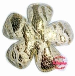 Bloem satijn/kant goud 3,5cm 10 st