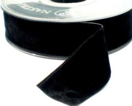 Velvet/fluweel band zwart dubbelzijdig  4 cm