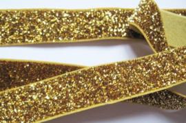 Elastisch haarband goud glitter 1.7cm