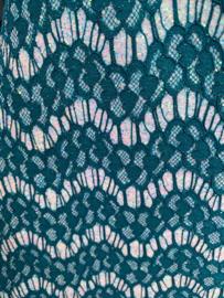 Leer kant blauw/goen  glitter off white meekleurend 20x30cm