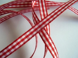 Rood/wit ruitje satijn 5mm