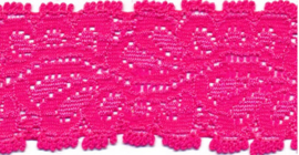 Elastisch kant (haarbandjes) knal roze 3.5 cm