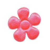 Applicatie bloem NEON roze satijn 3.5 cm