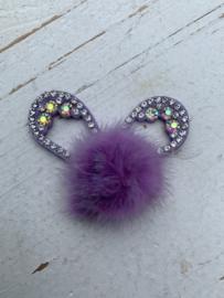 Konijnenoren met strass fluffy  lila