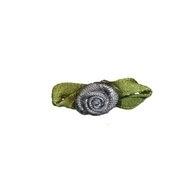 Roosje satijn antraciet grijs op blad 10 x 30 (B)