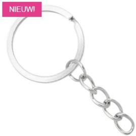 Sleutelhanger ring 2.5cm met ketting 2.5cm