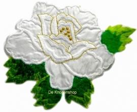 A056c Grote witte roos met blad