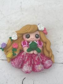 Prinses met kikker fimo klei poppetje