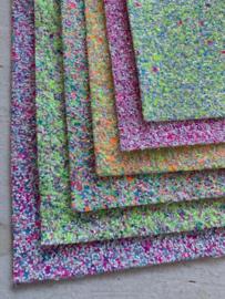 Glitter Leer grof geel/groen/blauw confetti mix 20x32 cm