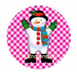 Flatback sneeuwpop fuchsia ruitje K174