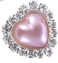 Flatback rhinestone hartje parelmoer lila- roze