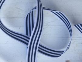 Elastisch donkerblauw wit gestreept 1,8 cm