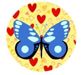Flatback vlinder hart/vlinder blue