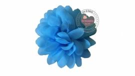 Chiffon bloem aqua/licht blauw 6,5cm