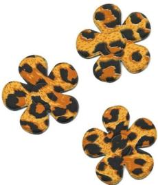 Applicatie bloem met panter/tijger print oker  4,5 cm