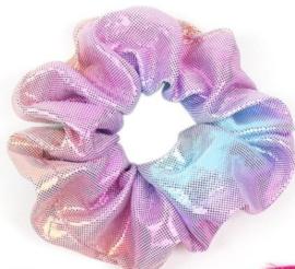 Scrunchies Haarwokkel metalic roze blauw goud