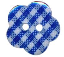 Knoop bloem ruitje blauw 1.5cm