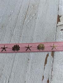 Elastisch haarband roze met schelp goud