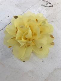 Bloemen chiffon 7 cm geel polkadot goud