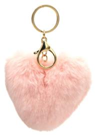 Tas/Sleutelhanger fluffy hart  licht roze