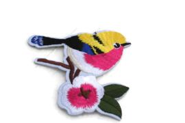 Opstrijkbare applicatie vogel met bloemtak