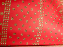 Leer rood golden polkadots print