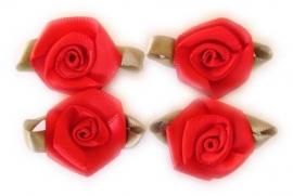 Roosjes met blad rood 3,5cm