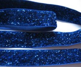 Elastisch haarband royal blue/kobalt glitter 1.7cm